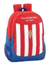 Real Sporting. Mochila escolar 32 cm. adaptable a carro. 2017/18
