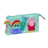Estuche Escolar Triple Peppa Pig Rainy Days